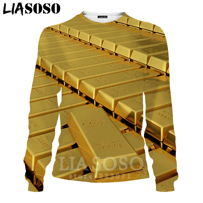 LIASOSO 3D Print Gold Sweatshirt Autumn Long Sleeve Glow Diamond Men`s Shirt Anime Women Fashion Tops O Neck Men Clothing D017-7 (17)