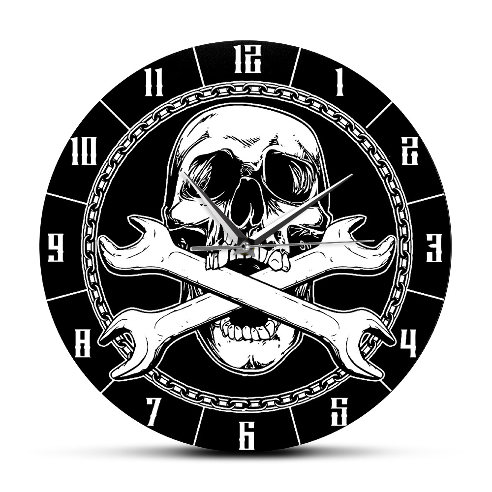 Car Repair Shop Decorative Wall Clock Car Service Tools Modern Printed Acrylic Wall Watch Tools In The Skull Mouth Wall Sign