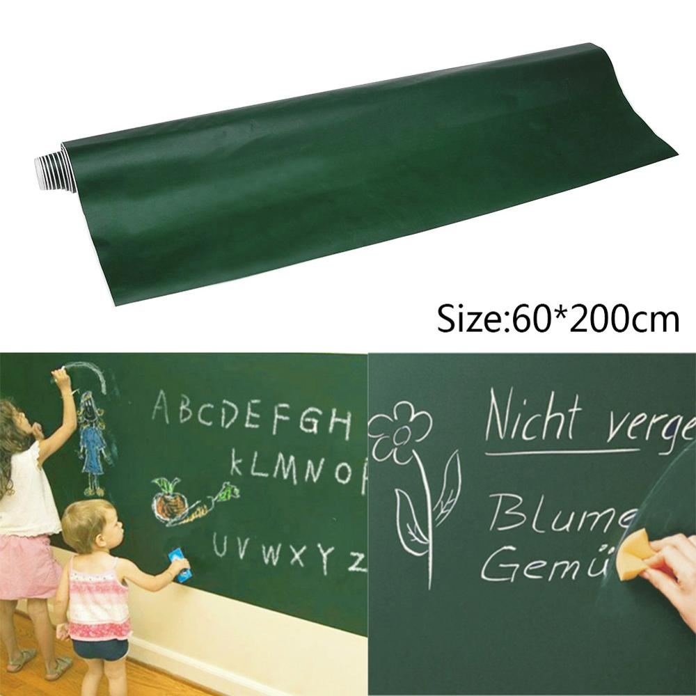 60*200cm Large Size Blackboard Sticker Removable PVC Wall Drawing Writing Art Green Chalkboard Krijtbord School Office Supplies