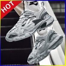 Brytyjski Retro uliczny Punk Rock Hip Hop Chunky Sneakers mężczyźni taniec platforma mieszkania moda buty za kostkę Zapatillas Hombre