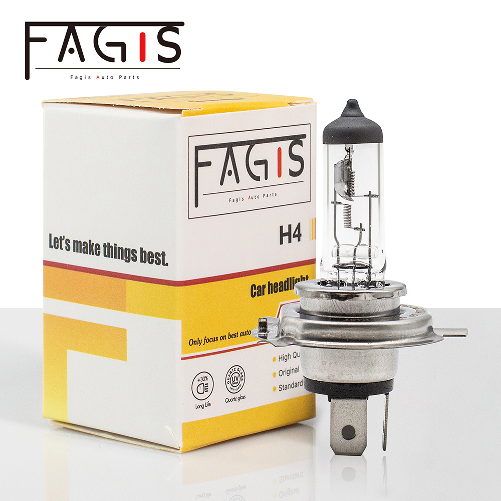 Fagis US Brand Hot Sale H4 9003 HB2 Halogen Lamp 12v 60/55w P43t White Car Headlight Bulb High Quality Auto Lighting Clear (1PC)