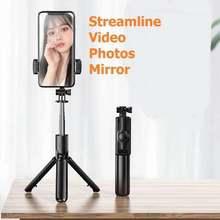 S03 Clip desmontable Bluetooth Selfie Stick Universal Horizontal y Vertical trípode Selfie Stick soporte para teléfono móvil fotografía