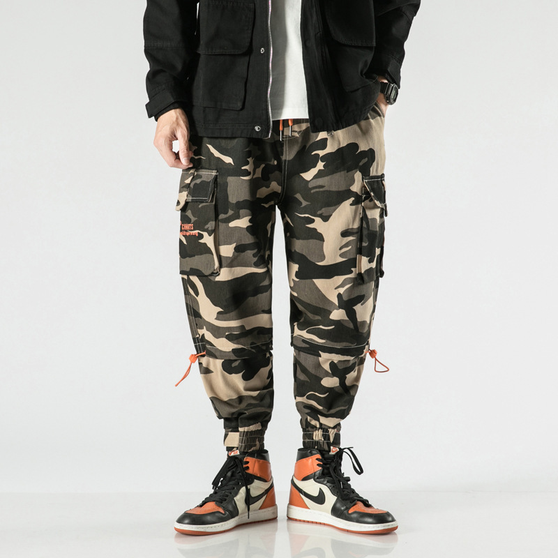 2019 New Style Japanese-style National Trends Military-Style Camouflage Pants Men's Autumn And Winter Casual Pants Loose Bib Ove