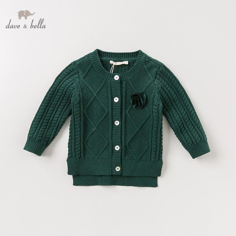 DBJ11569-1 dave bella autumn infant baby girls fashion green solid cardigan kids toddler coat children cute knitted sweater