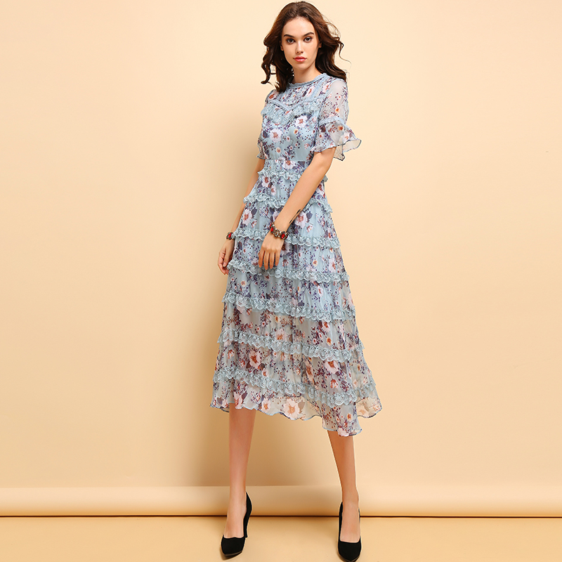 Baogarret Fashion Spring Summer Dress Women 39 s Flare Sleeve lace up Floral Printed Elegant Vintage Party Cupcatke Dresses in Dresses from Women 39 s Clothing
