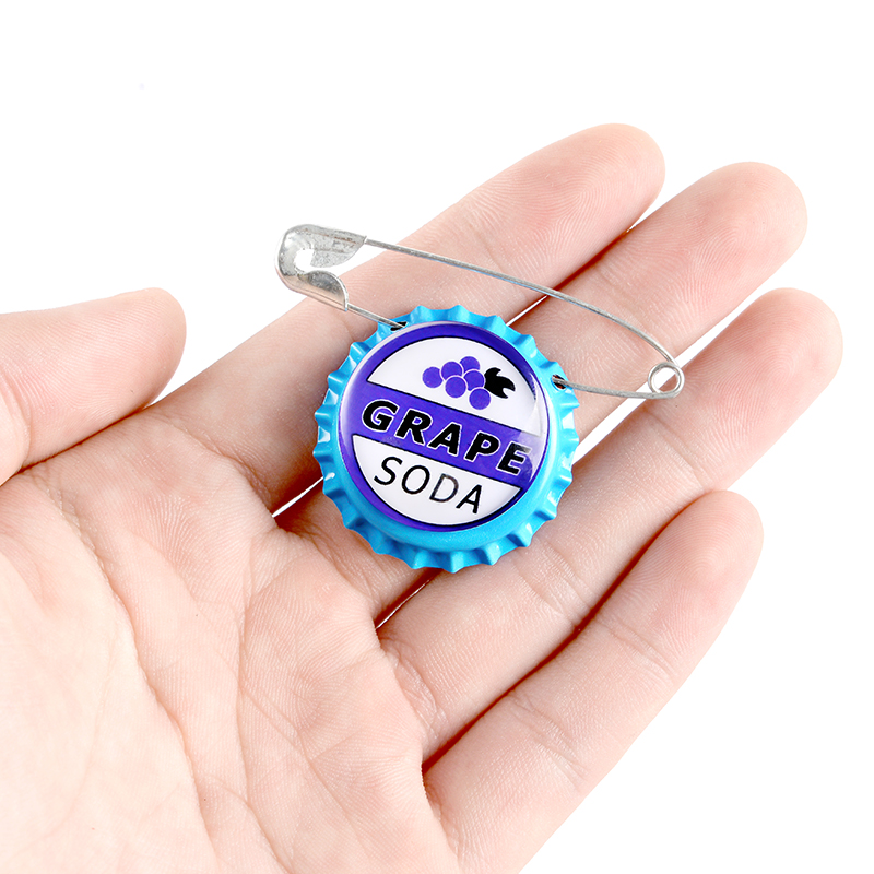 Grape Soda Bottle Caps Pin Carl Japanese Anime Cartoon Movie Badge Jewelry Brooches Denim Shirt Lapel Safe Pins For Kids Gifts 3