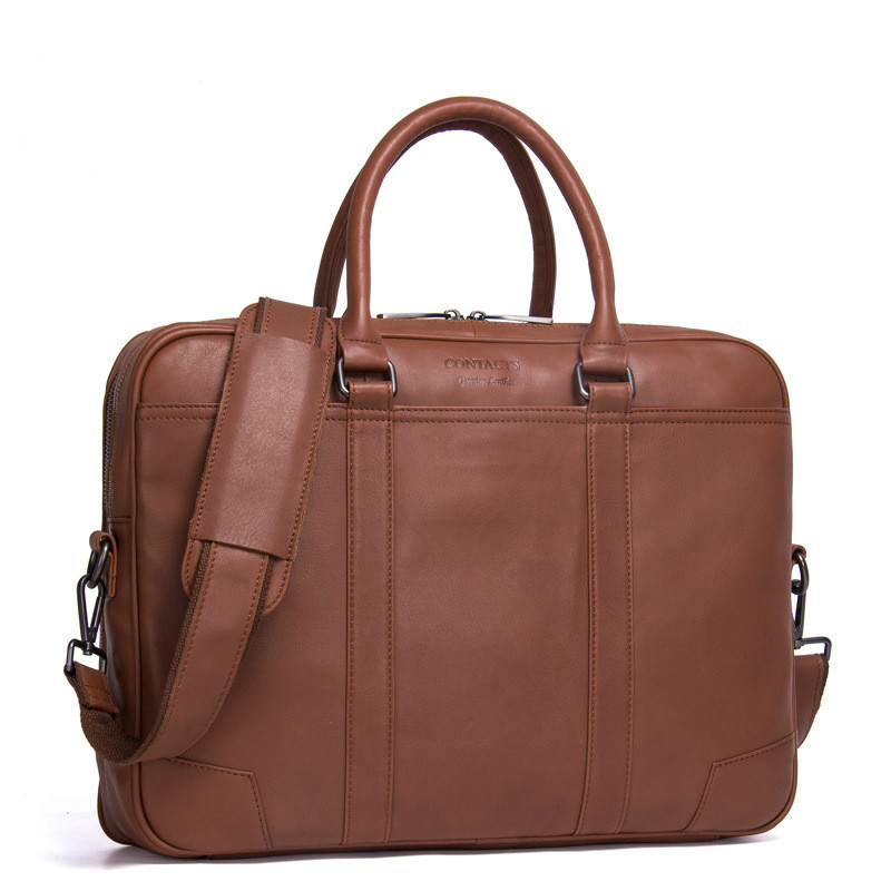 New Fashion Men's Business Briefcase Casual Genuine Leather Shoulder Bag Solid Color Cow Leather Portable Male Crossbody Bag