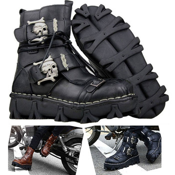 Work boots Men's Cowhide Genuine Leather Motorcycle Boots Military Combat Boots Gothic Skull Punk steam Boots Mid riding boots boots borboniqua boots