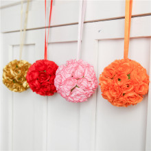1PC Hanging Decor Artificial Flower Ball Centerpieces Silk Rose Wedding Kissing Ball Pomanders Wedding Decoration Arrangement