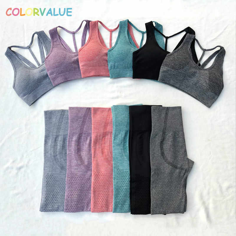 Colorvalue Stretchy Hollow Out Naadloze Sport Gym Sets Vrouwen Quick Dry Fitness Workout Suits Hoge Waisted Legging Gewatteerde Bras