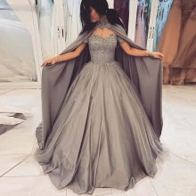 Grey Ball Gown Off the Shoulder Quinceanera Dresses with Cape Lace Appliques Sequined Prom Gown Puffy Skirt Long Sweet 16 Pagean(China)