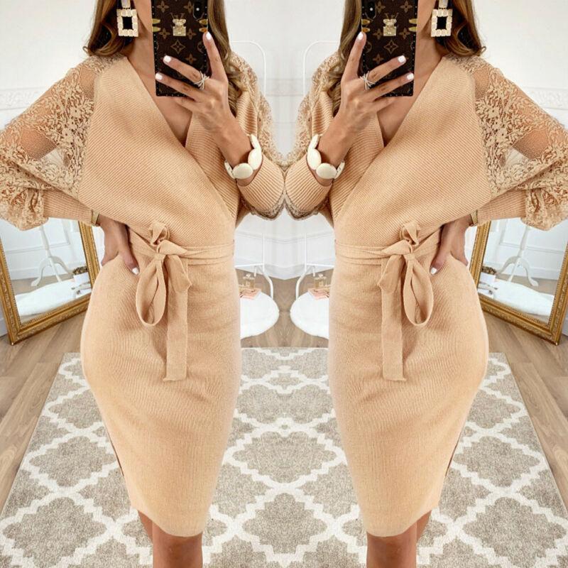 Women Dress 2019 Knitted Mini Dress Autumn Winter Ladies Sexy Khaki Sweater Dress Long Sleeve Vintage Club Dress