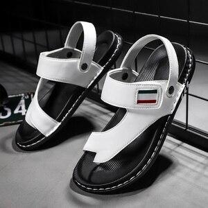 Image 3 - Sandálias masculinas de couro confortáveis, sandálias masculinas de designer para trilha e praia, verão, nova, 2019