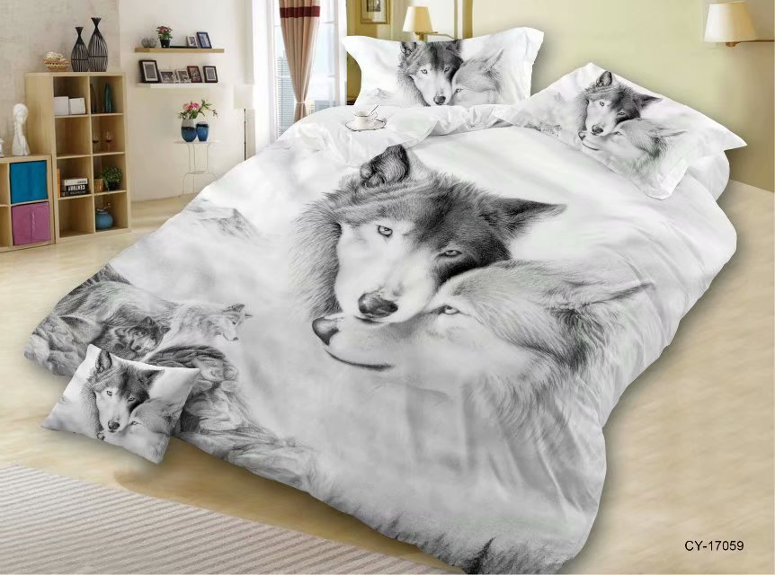 3D Animal Quilt Cover Bedding Article Hot Selling Wolf Head Four-piece Set
