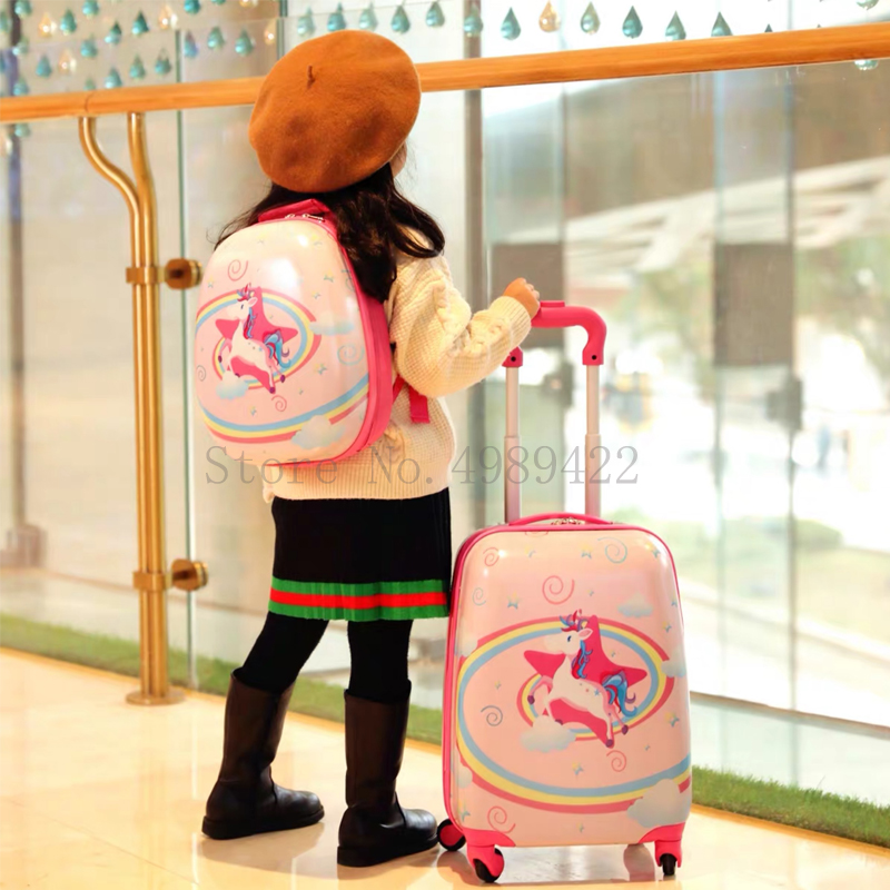 New 18''19/20 inch Cartoon kid's suitcase with wheels Trolley luggage bag rolling luggage set backpack carry on suitcase child