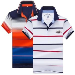 Image 1 - 夏新男性ポロシャツ高品質のブランドの綿半袖メンズポロシャツビジネスカジュアルストライプシャツポロ男性トップス