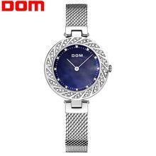 цена на DOM new Woman Watches SIlver Top Brand Luxury Watch Women Quartz Waterproof Women's Wristwatch Ladies Girls Watches Clock