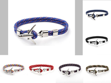 New Fashion Airplane Anchor Charm Bracelets Men Rope Paracord Bracelet Male Women Air Force Style Wrap Metal Sport Hook