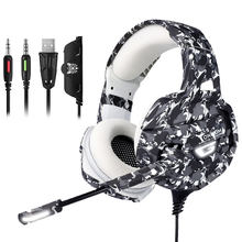 K8 Camouflage Headset Wired PC Bass Gamer Stereo Gaming Headphones with Microphone LED Lights for XBox One for PS4 Laptop Tablet(China)
