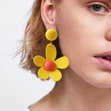 HOCOLE Korean Cute Flower Earrings For Women 2019 Fashion Statement Resin Pendant Drop Earring Bohemian Beach Jewelry Za Brand