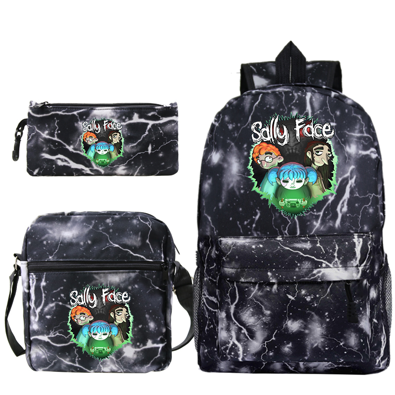 Fashion Women's Man's Backpack Sally Face Printing Backpacks School Bag for Teenager Girls & Boy Pencil Case 3pcs Sets Mochila