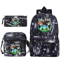 Fashion Women's Man's Backpack Sally Face Printing Backpacks School Bag for Teenager Girls & Boy Pencil Case 3pcs Sets Mochila