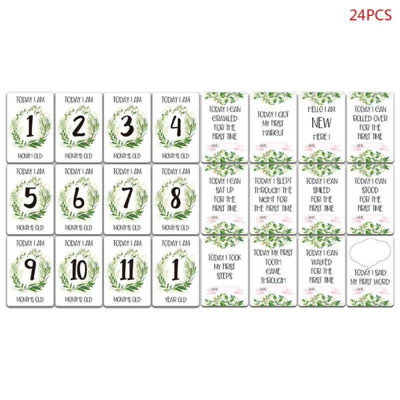 24 Pcs/set Funny Cartoon Baby Milestone Month Stickers Card Newborn Photo Props