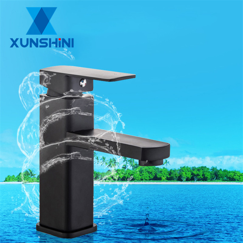XUNSHINI Free Shipping Black Square Paint Faucet Sink Washbasin Faucet Bathroom Basin Faucets Hot Cold Mixer Tap Single Hole