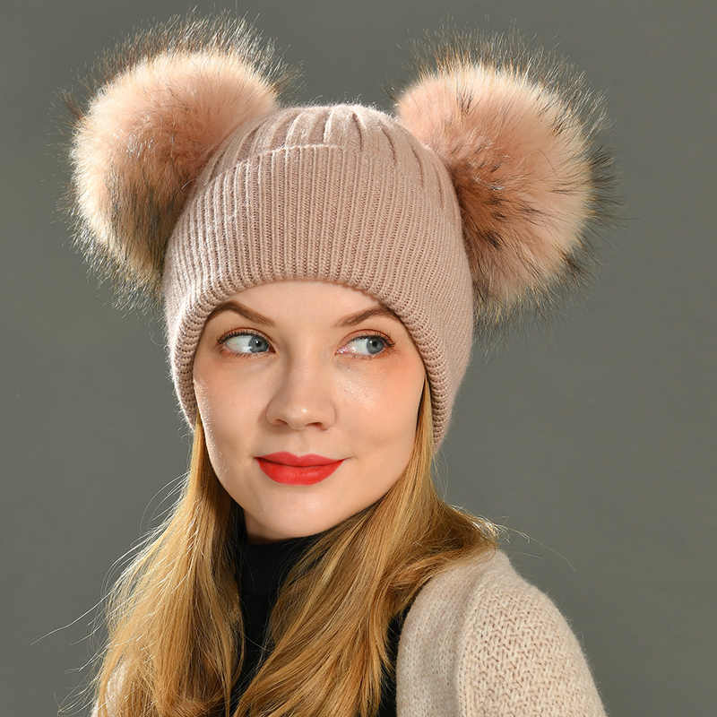 Fashion Women/'s Winter Hats Fur Hats Knitting Fox Fur Hat Pom Poms Ball Beanie C