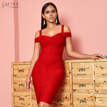 ADYCE Off Shoulder Bodycon Bandage Jurk Vrouwen Sexy Wijn Rode Spaghetti Strap Club Dress Vestidos Celebrity Avond Party Jurken(China)