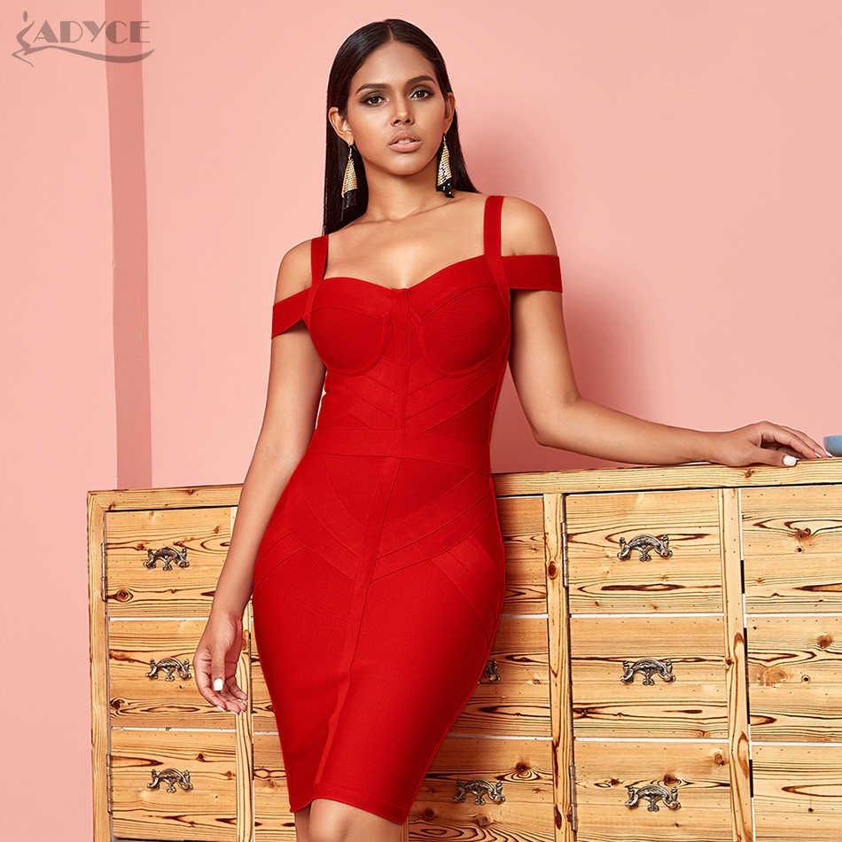 ADYCE облегающее Бандажное платье с открытыми плечами, женское сексуальное Клубное платье на бретельках цвета красного вина, платья знаменитостей, вечерние платья