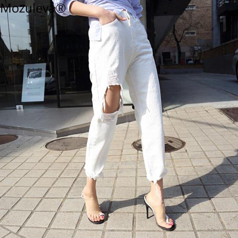Mozuleva White Jeans For Women High Waist Ripped Hole Fringe Hem Female Harem Denim Jeans 2019 Streetwear Women Denim Trousers
