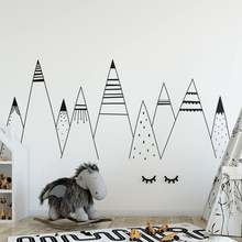 Simple Patterned Mountains Wall Decal  Nursery Woodland Theme Kids Room Decor Cute Tribal Mountain Vinyl Stickers