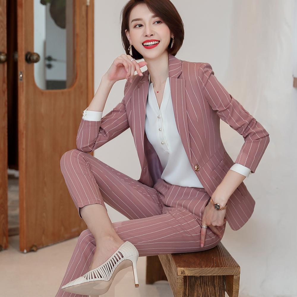 Fashion women casual pant suit largest size 5XL Green Pink Striped suit Jackets And pant 2 Piece sets suits 37