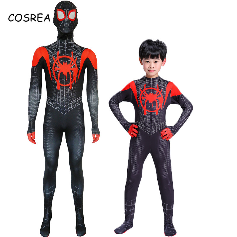 Spiderman Miles Morales Costume Kids Zipper Bodysuit Onesie Adult Super Hero Costume Halloween Peter Parker Full Suit Costume
