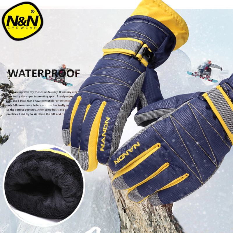 NANDN Winter Warm Mountain Snowboard Ski Gloves Men Women Cold Snow Skiing Mittens Waterproof Snowmobile Handschoemen Air+ 5002