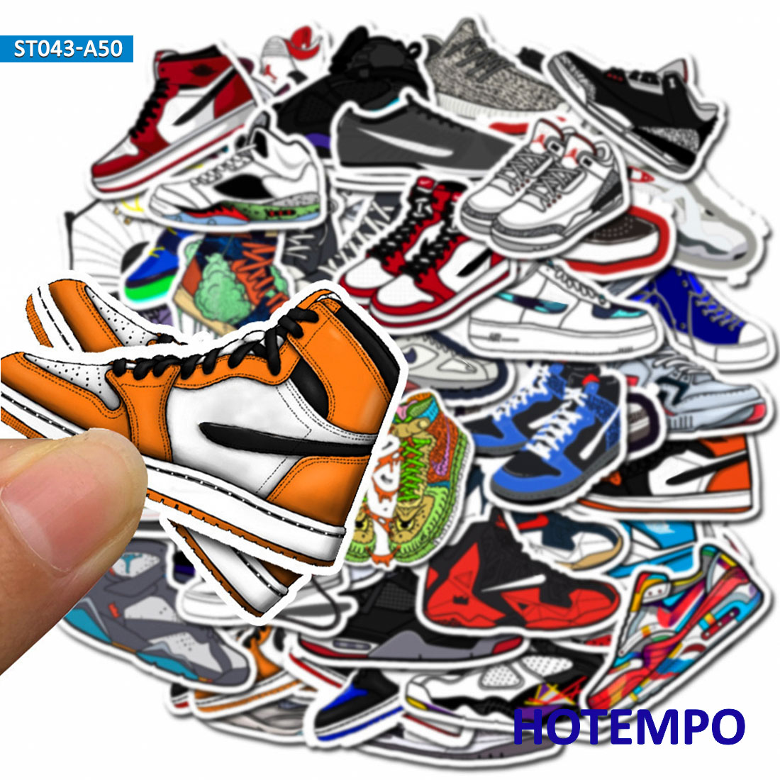 50pcs PVC Waterproof Basketball Sneakers Shoes Stickers For Mobile Phone Laptop Luggage Guitar Skateboard Bike Ski Car Stickers