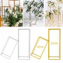Suporte para vasos geométrico e à prova de ferrugem, decoração para festas, casamentos, piso, centro de salão em ferro no formato de coluna, apoio móvel para flores