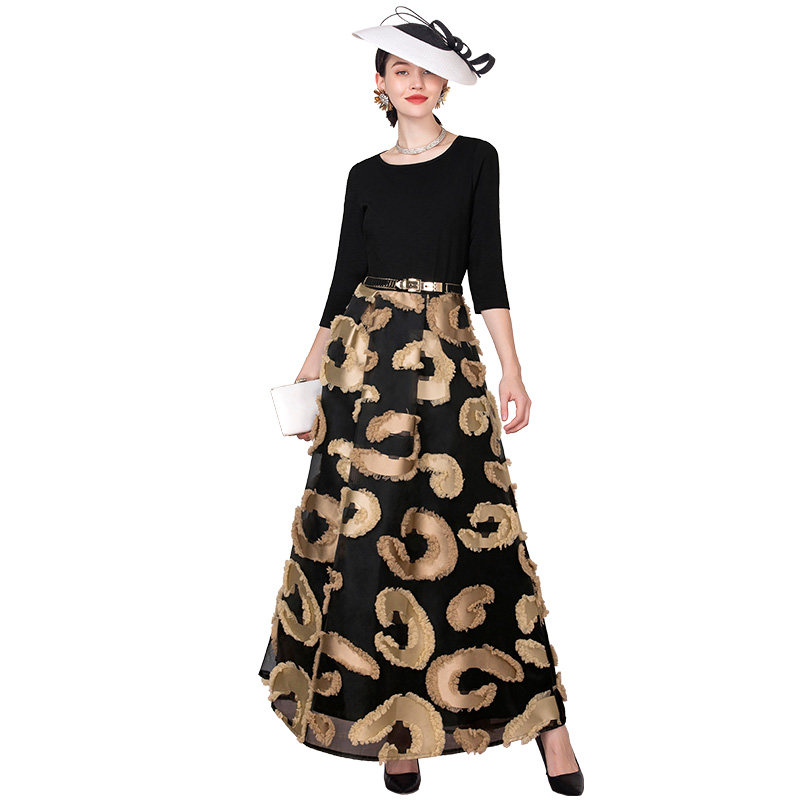 Sommer Vintage Lange Kleid Jacquard 3D Gedruckt Teil Kleid Patchwork Designer Frauen Schlanke Taille Maxi Runway Kleid DZ3021