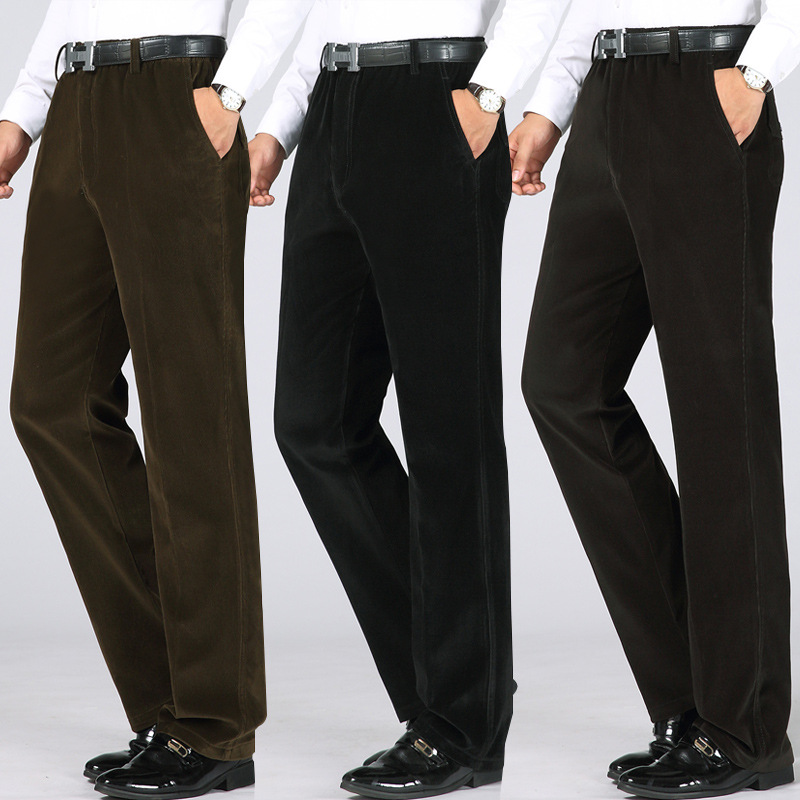Autumn And Winter Middle-aged MEN'S Trousers Elastic High-waisted Casual Pants Daddy Clothes Trousers Autumn Clothing Straight-l