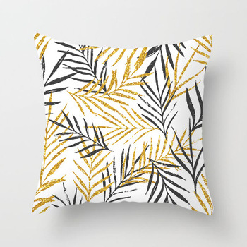Gold Leaf Tropical Cushion Cover
