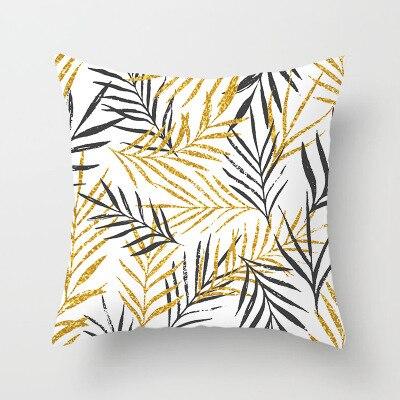 Gold Leaf Tropical Cushion Cover