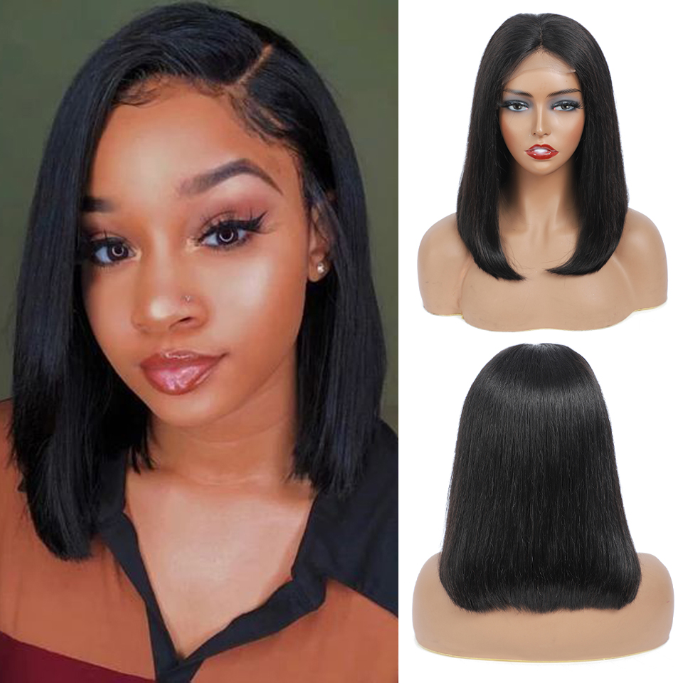 14 Inch Short Bob Wig  Lace Closure Wigs  Virgin Pre Plucked with Baby Hair Natural  Straight Wigs 1