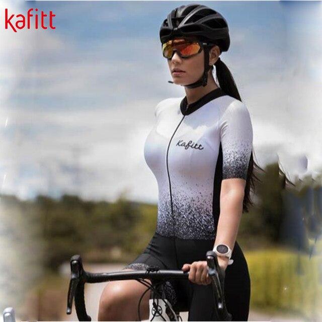 Kafitt verão novo de manga curta ciclismo wear terno macacão feminino triathlon ciclismo wear mountain bike macaquinho 4