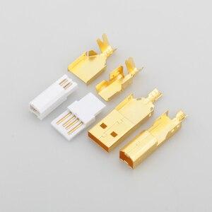 Image 1 - Connecteur USB plaqué or haut de gamme USB A + prise de USB B de Type A B pour câble USB bricolage Taiwan