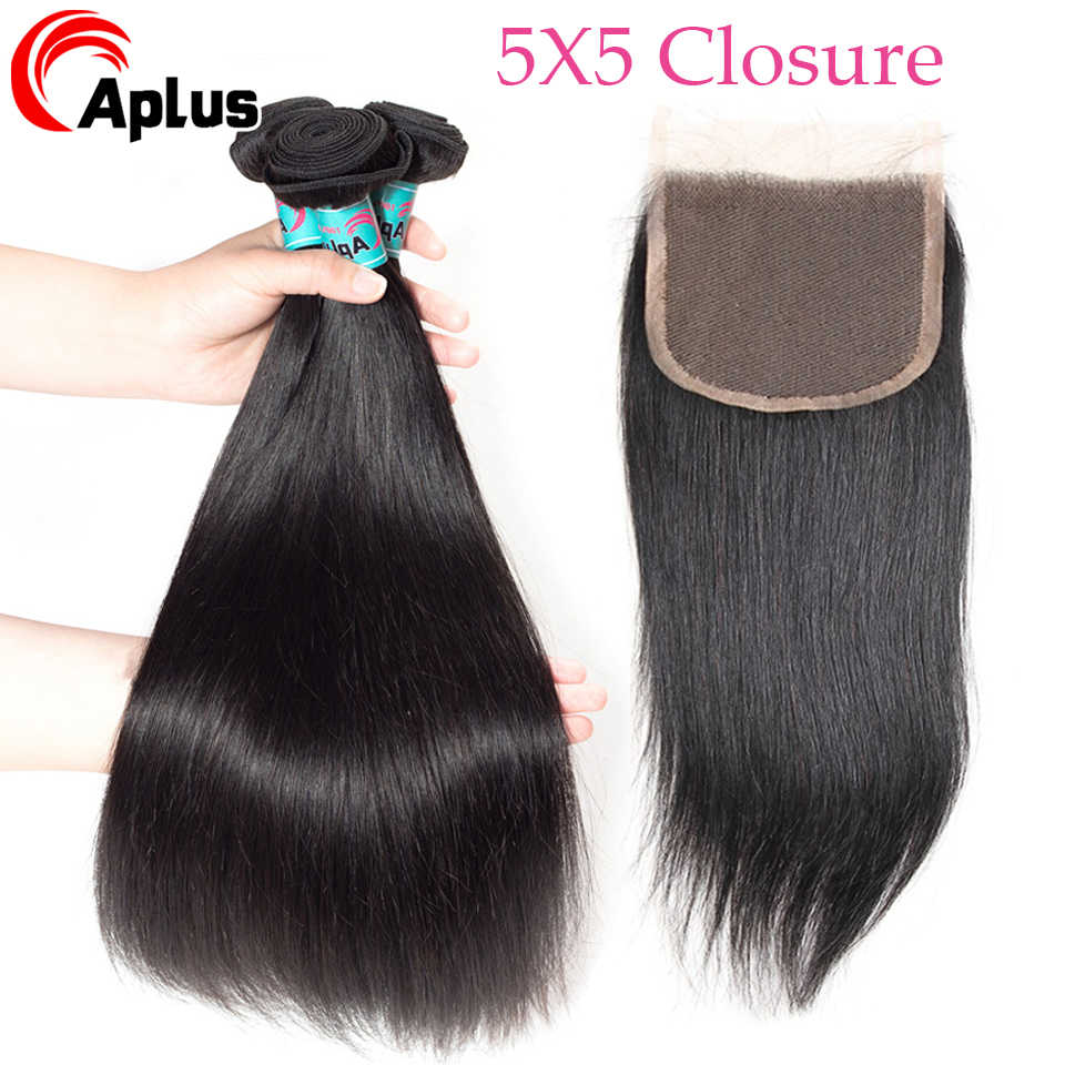 Straight Hair Bundles With 5x5 Closure Brazilian Hair Weave Bundle Non Remy Human Hair Lace Closure With 3 Bundles Natural Color