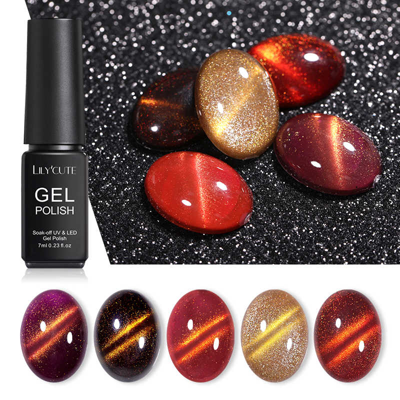 LILYCUTE Gold Light Magnetic UV Gel Polish Chameleon Cat Eye Gel Nail Art UV Varnish LED Tahan Lama Rendam Off gel