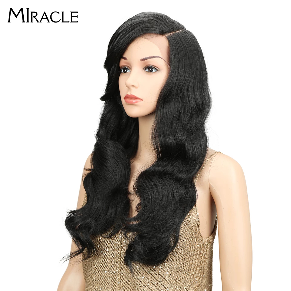 Miracle Synthetic Wigs Loose-Wave-Equal Heat-Resistant Glueless Heavy-Density Black-Women
