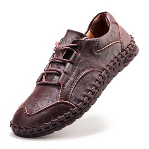 Image 2 - ชายรองเท้าหนังผู้ชายหรูหรายี่ห้อ Design Handmade Loafers ผู้ชายรองเท้าหนังแท้รองเท้าหนังแท้คัทชูรองเท้าผ้าใบ Oxford
