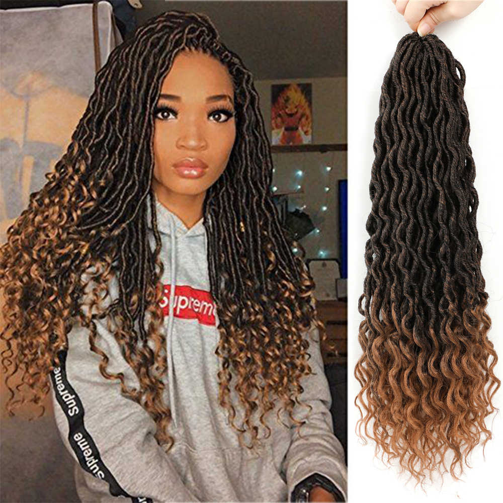 X-TRESS Curly Faux Locs Synthetic Crochet Braids Hair Extension Bohemian Goddess Soft Natural Ombre Brown Braids With Curly Ends